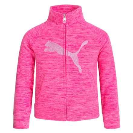 Puma Space-Dye Sweatshirt - Full Zip (For Big Girls) in Pink Glow - Closeouts