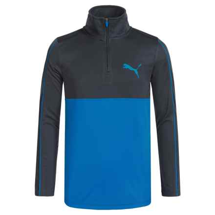 Puma Sport Shirt - Zip Neck, Long Sleeve (For Big Boys) in Sky Blue - Closeouts
