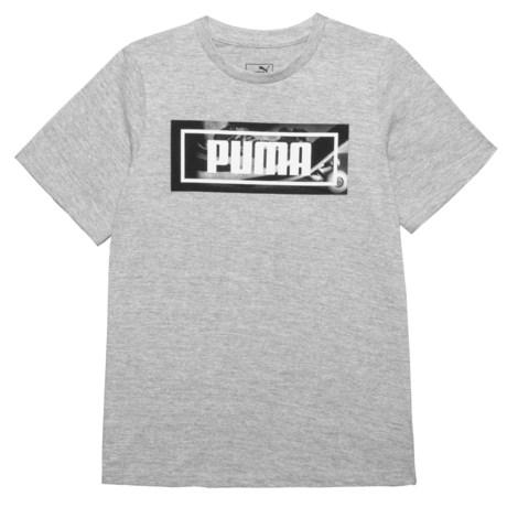 Puma Square Logo Graphic T-Shirt - Short Sleeve (For Big Boys) in Light Heather Grey