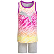 Puma Star Tank Top and Shorts Set (For Little Girls) in Light Heather Grey - Closeouts