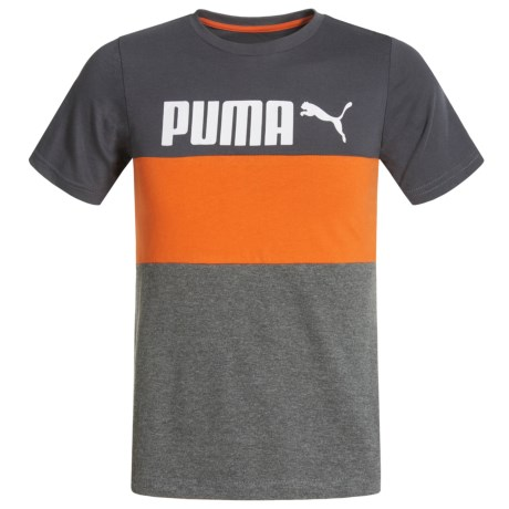 Puma Stripe Pieced Shirt - Short Sleeve (For Little Boys) in Asphalt