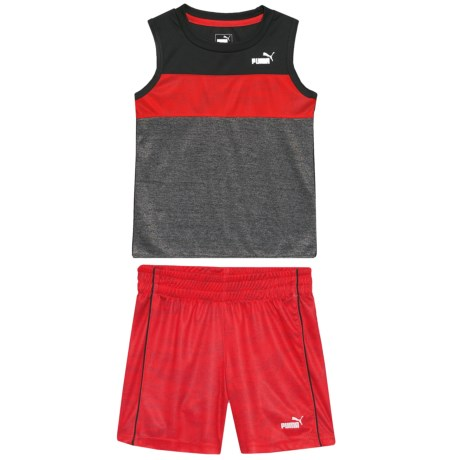 Puma Striped Muscle T-Shirt and Shorts Set - Sleeveless (For Toddler Boys) in Puma Black