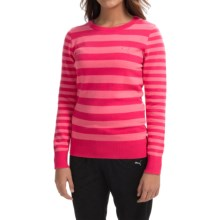 Puma Striped Novelty Sweater - Crew Neck (For Women) in Raspberry/Camellia Rose - Closeouts