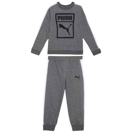 Puma Sweatshirt and Sweatpants Set - 2-Piece (For Little Boys) in Charcoal Heather - Closeouts