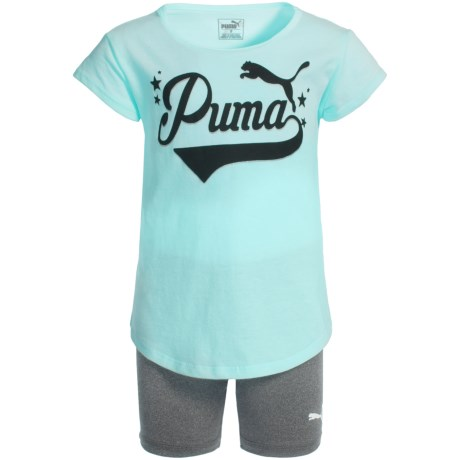 Puma T-Shirt and Bike Shorts Set - Short Sleeve (For Little Girls) in Island Paradise