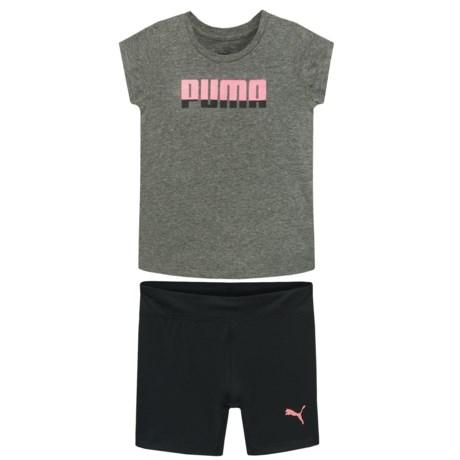 Puma T-Shirt and Biker Shorts - Short Sleeve (For Toddler Girls) in Medium Heather Grey