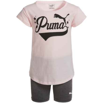 Puma T-Shirt and Biker Shorts - Short Sleeve (For Toddler Girls) in Pearl - Closeouts