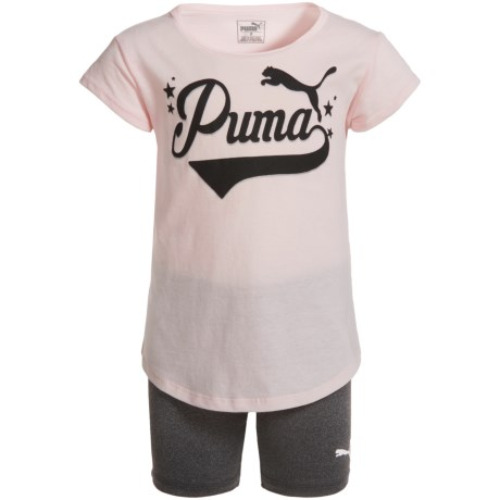 Puma T-Shirt and Biker Shorts - Short Sleeve (For Toddler Girls) in Pearl