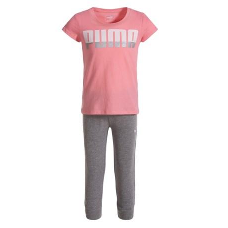 Puma T-Shirt and Capris Jogger Set - Short Sleeve (For Little Girls) in Soft Flu Peach