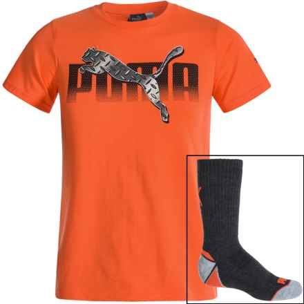 Puma T-Shirt and Crew Sock Set - Short Sleeve (For Big Boys) in Orange/Grey - Closeouts
