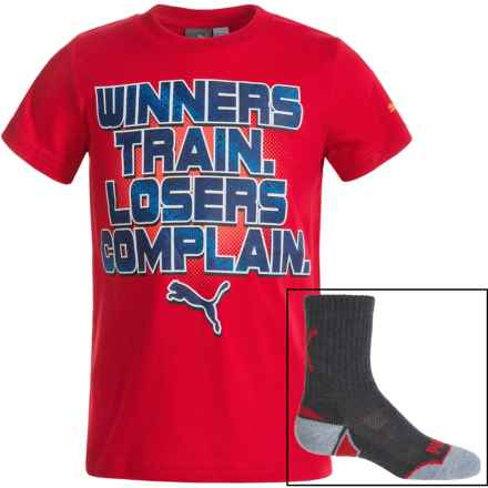 Puma T-Shirt and Crew Sock Set - Short Sleeve (For Little Boys) in Red/Blue/Grey - Closeouts