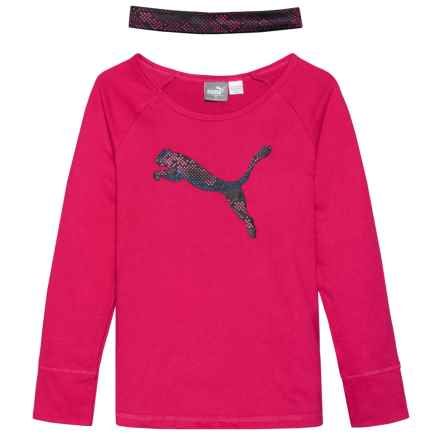 Puma T-Shirt and Headband Set - Long Sleeve (For Little Girls) in Pink - Closeouts
