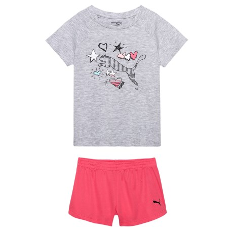 Puma T-Shirt and Mesh Shorts Set - Short Sleeve (For Toddler Girls) in Light Heather Grey/Salmon