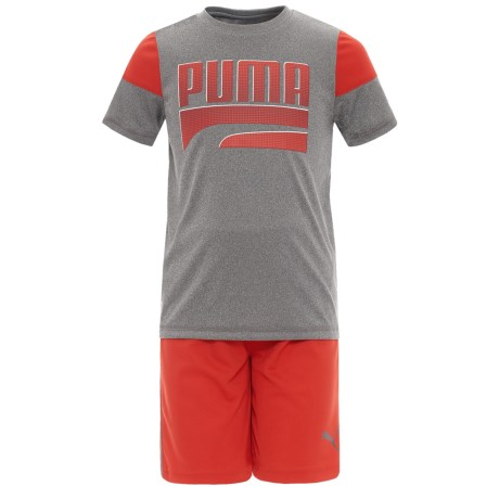 Puma T-Shirt and Shorts Set - Short Sleeve (For Little Boys) in Charcoal Heather
