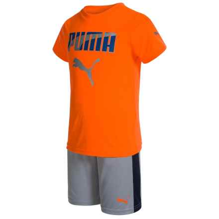 Puma T-Shirt and Shorts Set - Short Sleeve (For Little Boys) in Orange/Grey - Closeouts