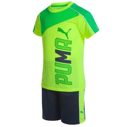 Puma T-Shirt and Shorts Set - Short Sleeve (For Little Boys) in Yellow/Navy - Closeouts