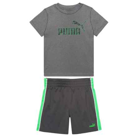 Puma T-Shirt and Shorts Set - Short Sleeve (For Toddler Boys) in Charcoal Heather - Closeouts