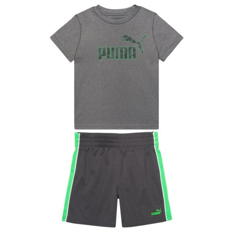 Puma T-Shirt and Shorts Set - Short Sleeve (For Toddler Boys) in Charcoal Heather