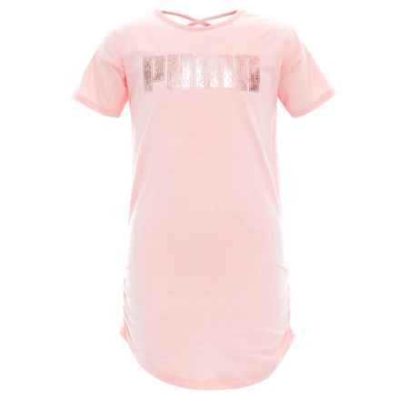 Puma T-Shirt Dress - Short Sleeve (For Big Girls) in Pearl - Closeouts
