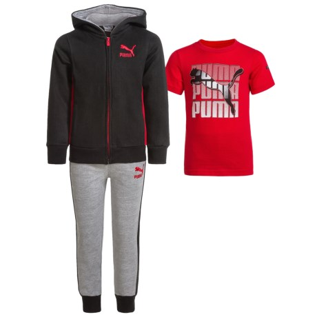 Puma T-Shirt, Hoodie and Sweatpants Set (For Toddlers) in Red/Black/Grey P001