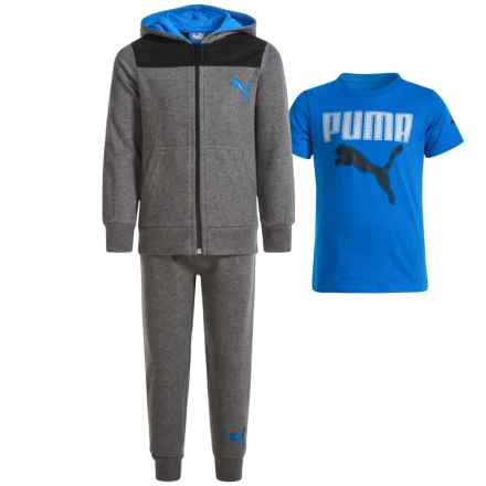 Puma T-Shirt, Joggers and Hoodie Set (For Little Boys) in Po11 Charcoal Heather - Closeouts