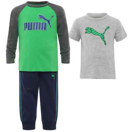 Puma T-Shirts and Joggers Set - Short and Long Sleeve (For Infants) in Lime Green/Grey - Closeouts