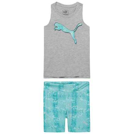Puma Tank Top and Biker Shorts Set (For Little Girls) in Light Heather Grey - Closeouts