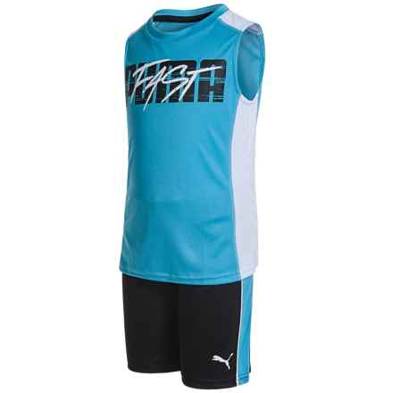 Puma Tank Top and Shorts Set - 2-Piece (For Little Boys) in Blue/Black - Closeouts