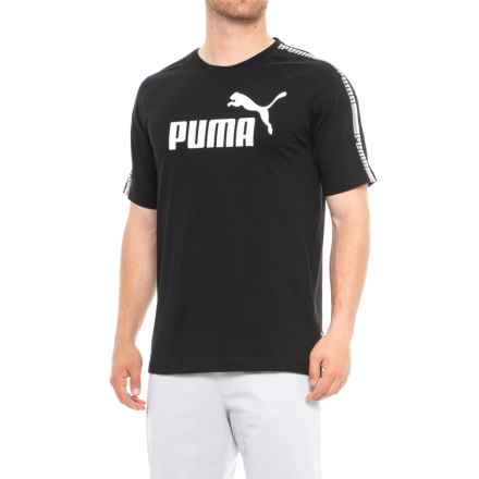 Puma Tape Logo T-Shirt - Short Sleeve (For Men) in Cotton Black - Closeouts