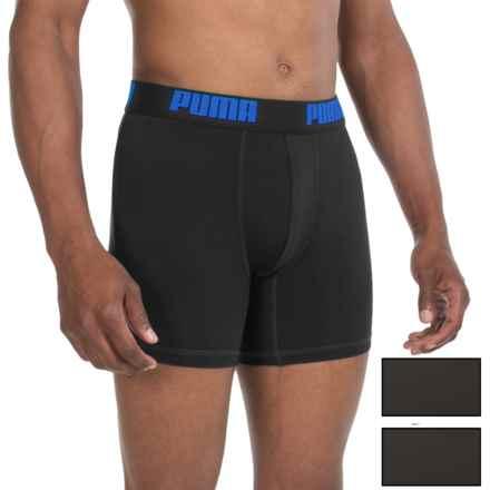 Puma Tech Boxer Briefs - 3-Pack (For Men) in Black W/Blue - Closeouts