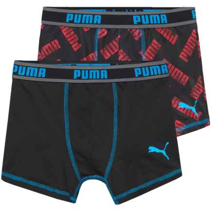 Puma Tech Logo Boxer Briefs - 2-Pack (For Boys) in Red/Black - Closeouts