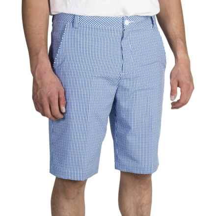Puma Tech Plaid Bermuda Golf Shorts - UPF 50+ (For Men) in Strong Blue/Gray Dawn/White - Closeouts