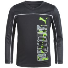 Puma Technical Shirt - V-Neck, Long Sleeve (For Big Boys) in Coal - Closeouts