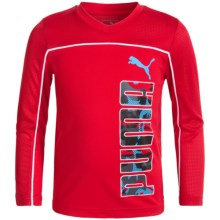 Puma Technical Shirt - V-Neck, Long Sleeve (For Big Boys) in Fierce Red - Closeouts