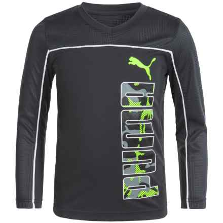 Puma Technical T-Shirt - Long Sleeve (For Little Boys) in Coal - Closeouts