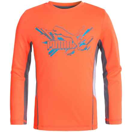 Puma Technical T-Shirt - Long Sleeve (For Little Boys) in Fire Orange - Closeouts