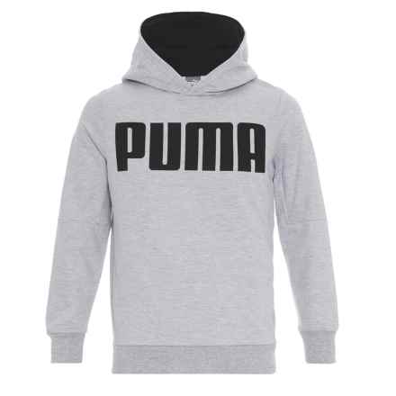 Puma Terry-Knit Logo Hoodie (For Boys) in Light Heather Grey - Closeouts