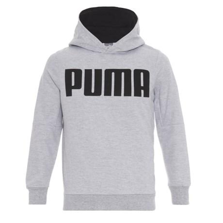Puma Terry-Knit Logo Hoodie (For Boys) in Light Heather Grey