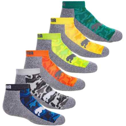 Puma Terry Knit Socks - 6-Pack, Ankle (For Boys) in Bright Combo - Closeouts