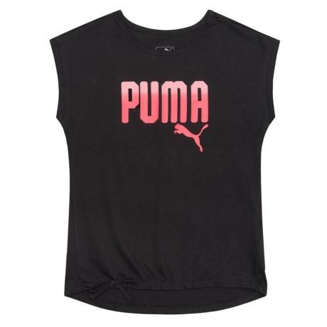 Puma Tie Hem T-Shirt - Short Sleeve (For Big Girls) in Puma Black