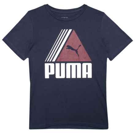 Puma Triangle Logo T-Shirt - Short Sleeve (For Big Boys) in Peacoat - Closeouts