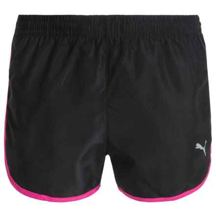 Puma Trimmed Running Shorts - Built-In Mesh Briefs (For Big Girls) in Black/Pink - Closeouts