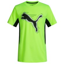 Puma Two-Tone Logo T-Shirt - Short Sleeve (For Big Kids) in Acid Yellow - Closeouts