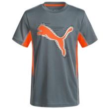 Puma Two-Tone Logo T-Shirt - Short Sleeve (For Big Kids) in Smoke Grey - Closeouts