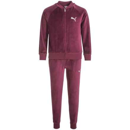 Puma Velour Hoodie and Pants Set (For Big Girls) in Wine - Closeouts