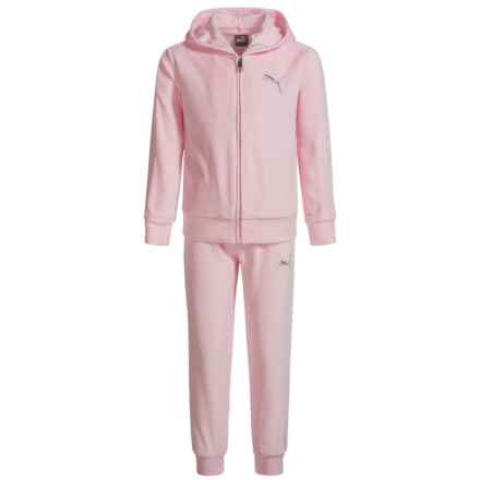 Puma Velour Hoodie and Pants Set (For Little Girls) in Almond Blossom - Closeouts