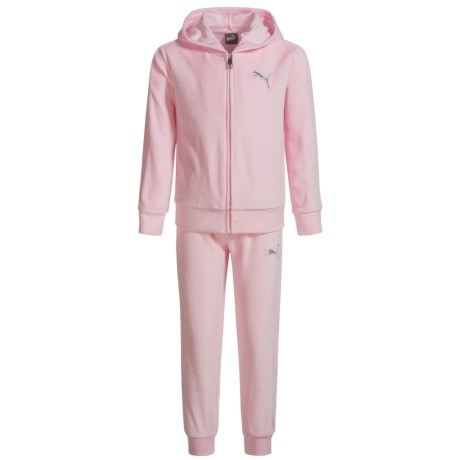 Puma Velour Hoodie and Pants Set (For Little Girls) in Almond Blossom