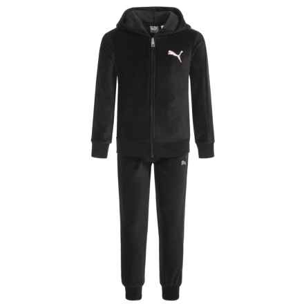 Puma Velour Hoodie and Pants Set (For Little Girls) in Puma Black - Closeouts