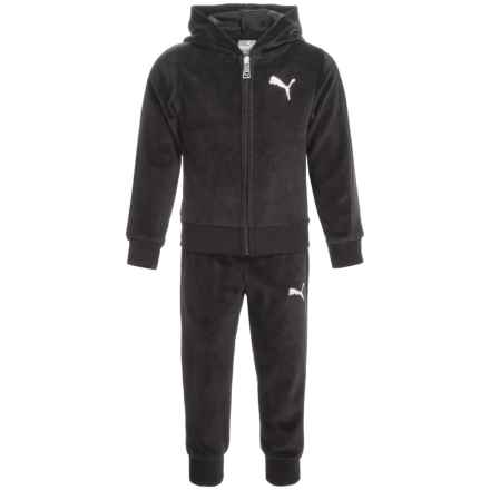 Puma Velour Hoodie and Pants Set (For Toddler Girls) in Puma Black - Closeouts