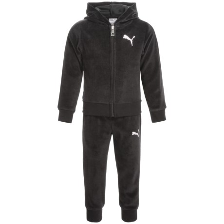 Puma Velour Hoodie and Pants Set (For Toddler Girls) in Puma Black